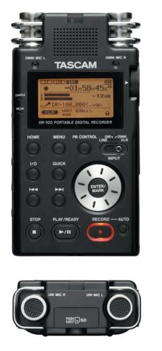Front and Top Views of Tascam DR-100
