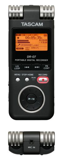 Front and Top Views of Tascam DR-07